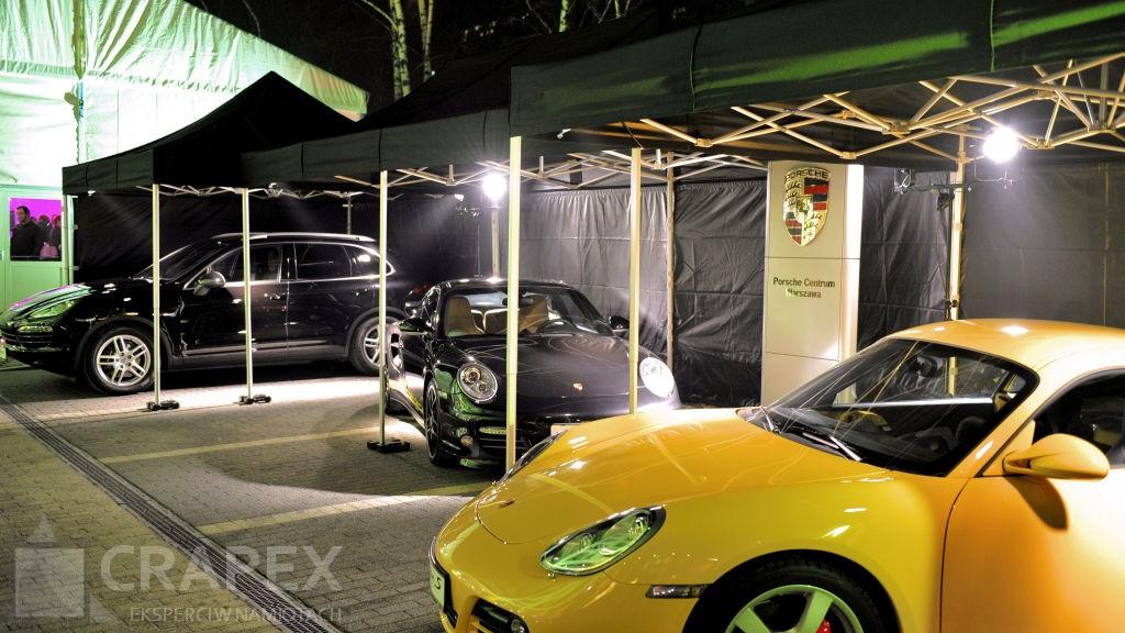 namioty eventowe czarne wynajem zadaszenie samochodow Porsche Warszawa